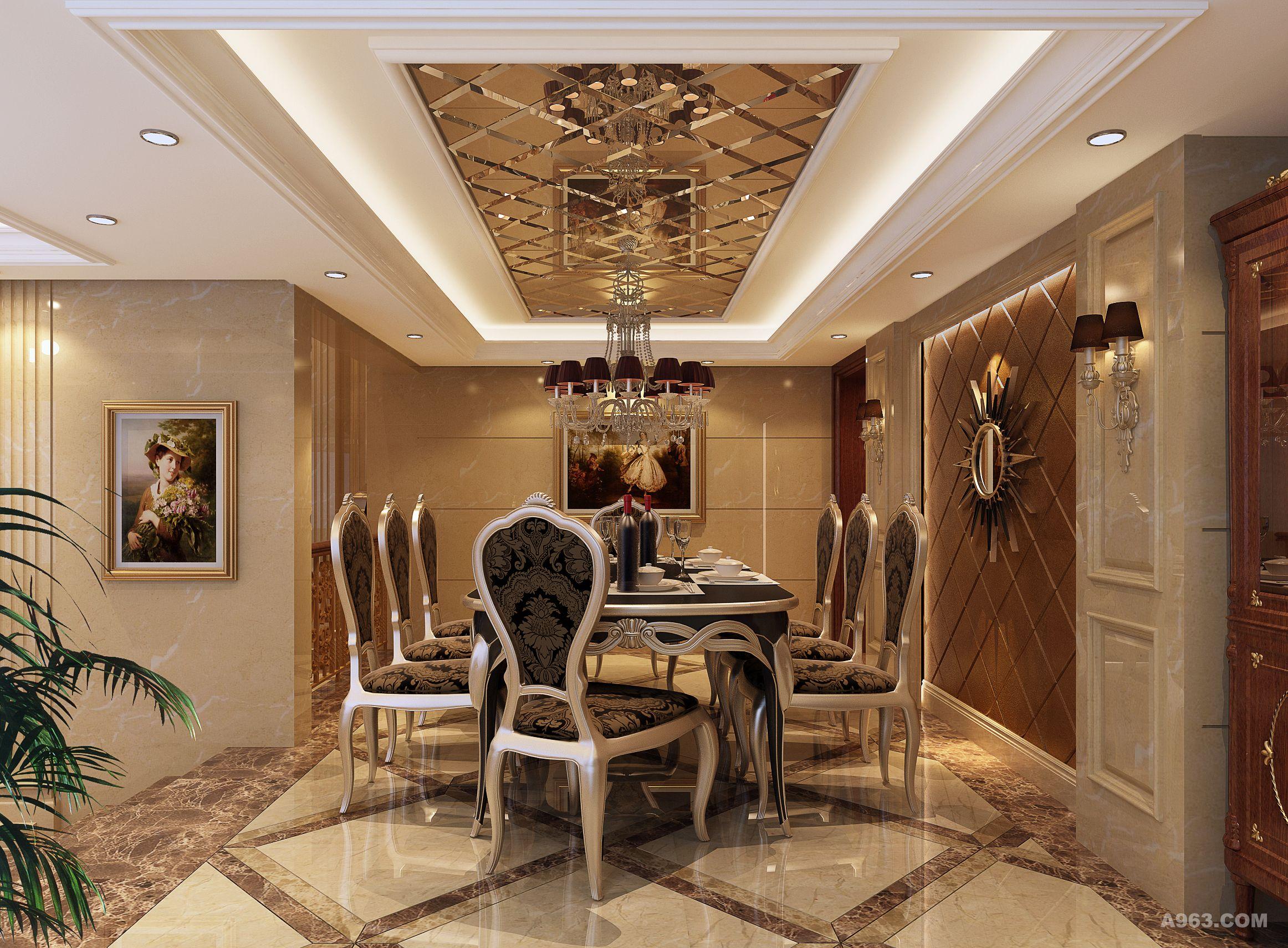"""项目名称:私人墅装 项目地址:中国岳阳 设计师:张欣 建筑面积:650 主要用材:米黄石材、橡木地板、墙布、花地毯、金镜、  私人别墅,位于城市边缘,已远离都市的繁华喧嚣,设计师选择""""欧式·古典·奢华""""作为这个私家官邸的主要设计元素,还主人一个闪亮的奢华之梦。"""